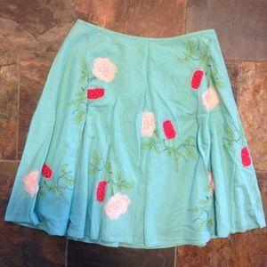 BETH BOWLEY appliqued silk full skirt M (B7)